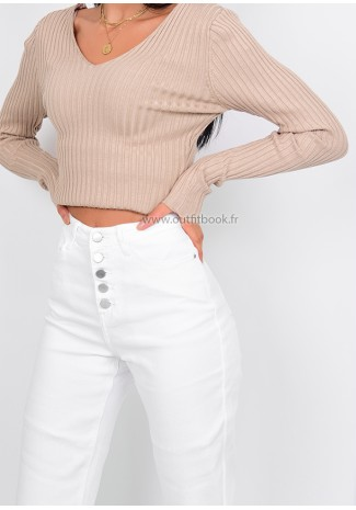 Jean mom fit blanc avec boutons