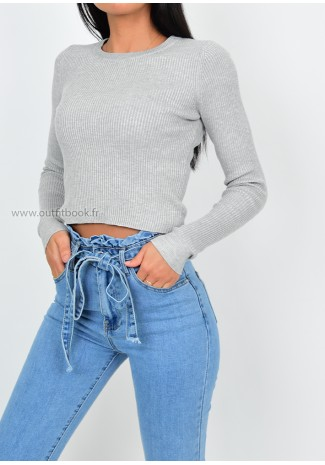Pull col rond gris clair