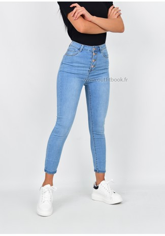Jean skinny taille haute bleu clair avec boutons