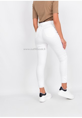 Jean skinny taille haute blanc avec boutons