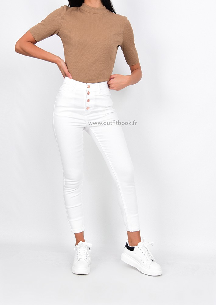 bon service magasiner pour les plus récents prix raisonnable High rise button up skinny jeans in white