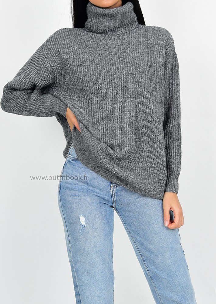 5e41043c327 ... knitted high neck jumper in grey. Pull oversize gris foncé à col roulé  ...
