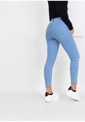 Jean skinny bleu clair taille haute