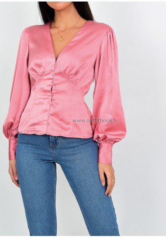 Pink satin blouse with button up detail