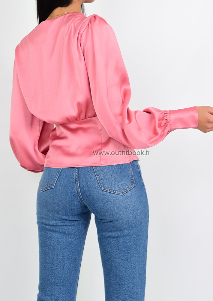 81333688e Pink satin blouse with button up detail - OUTFITBOOK