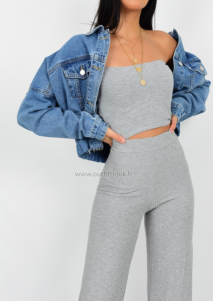 Ensemble top et pantalon gris