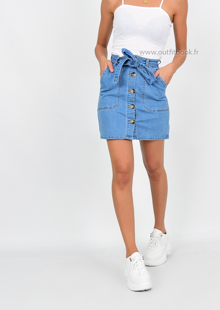 High waisted denim skirt with belt - OUTFITBOOK