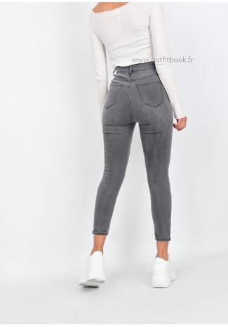 Jean skinny taille haute gris clair avec boutons
