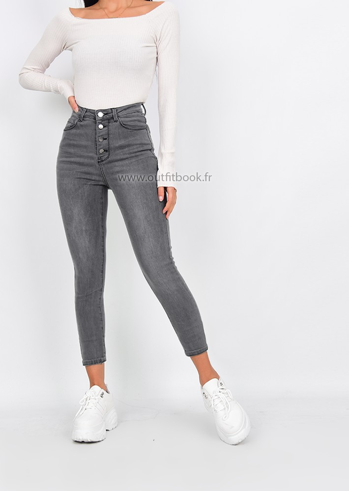 nouveau produit 375de 4ae99 Grey high waisted skinny jeans with button fly