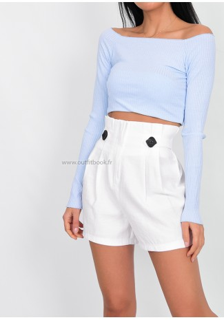 White high waisted shorts with shirred waist