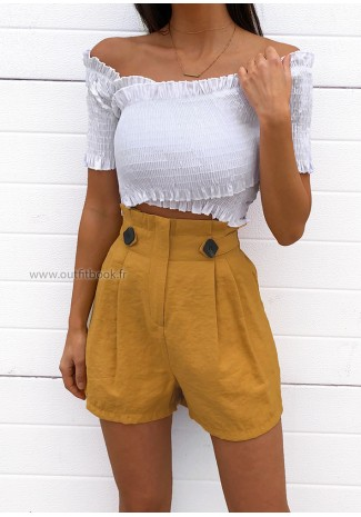 Mustard high waisted shorts with shirred waist