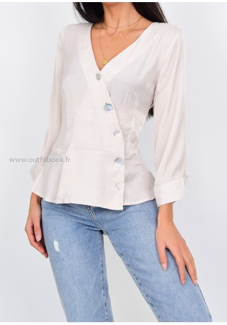 Beige button front blouse