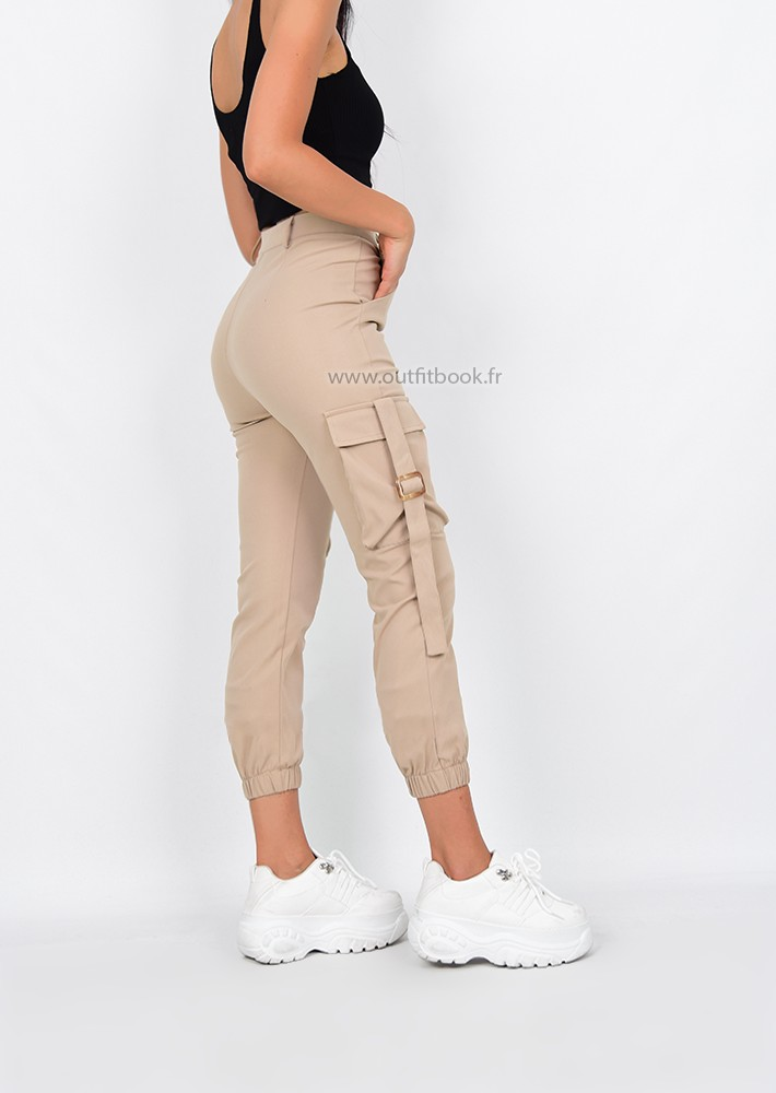 mieux aimé 25768 d9394 High waisted cargo pants in beige slim fit