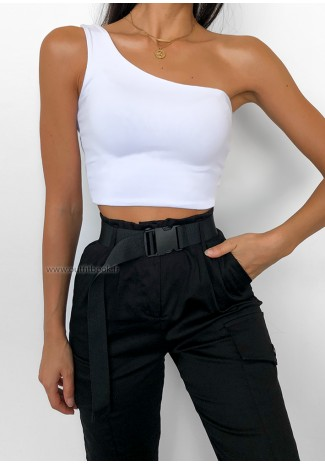 Crop top asymétrique blanc