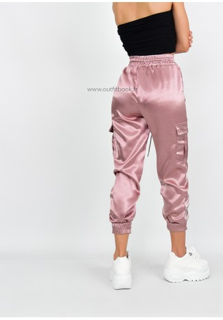 Pantalon cargo en satin rose