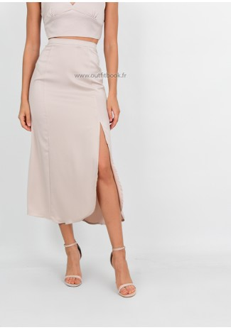 Satin midi skirt with side split in beige