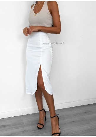Satin midi skirt with side split in white