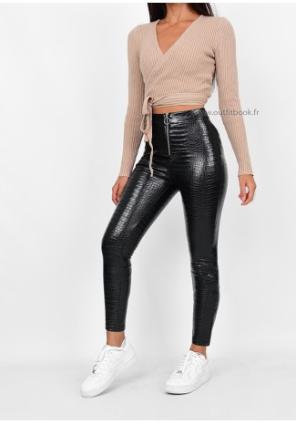 Black trousers in croc print with zip detail