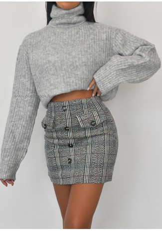 Ribbed roll neck oversized jumper in grey