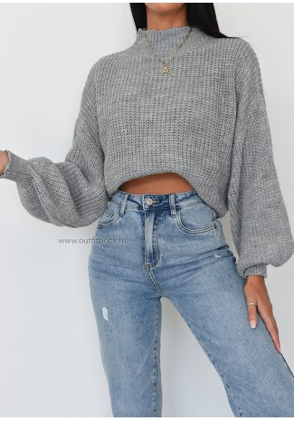 Pull col montant en maille gris