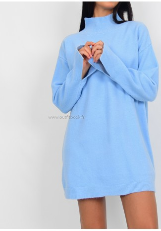 Robe pull col montant bleu