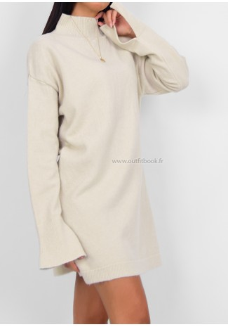 Robe pull col montant beige