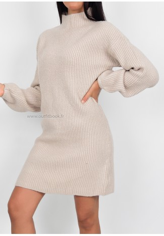 Knitted jumper dress in beige