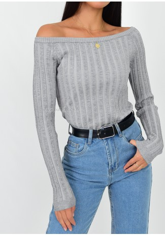 Rib knit off the shoulder jumper in grey
