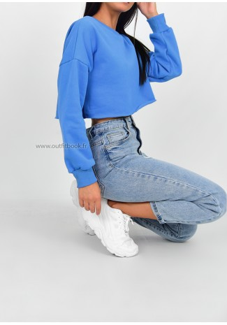 Sweat-shirt court bleu