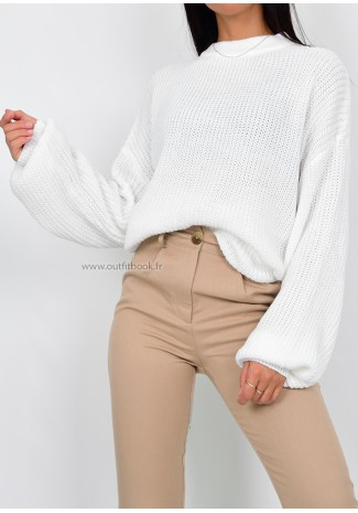 Pull col rond en maille blanc