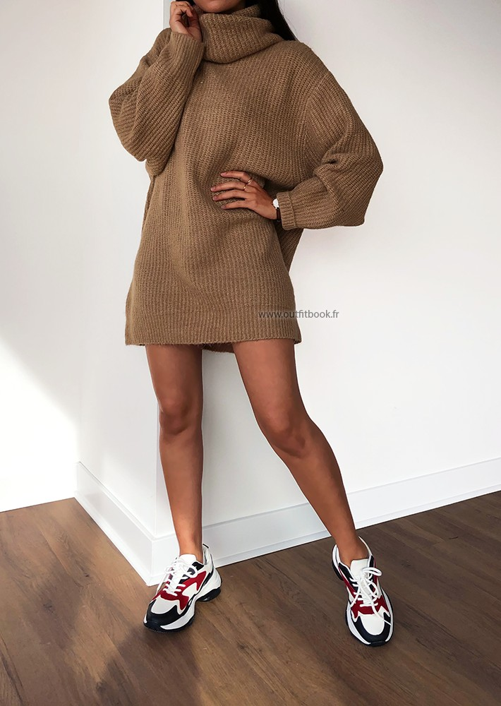 robe pull camel oversize avec col roulé  outfitbook