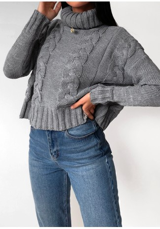 Knitted cable knit roll neck jumper in grey