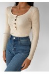 Ribbed button down square neck jumper in beige