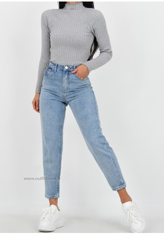 Jean mom fit bleu clair