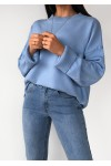 Blue oversize jumper with ribbed trim