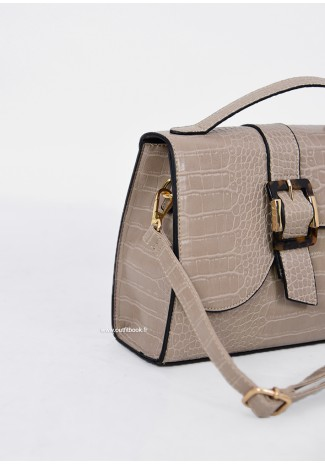 City bag in beige croc