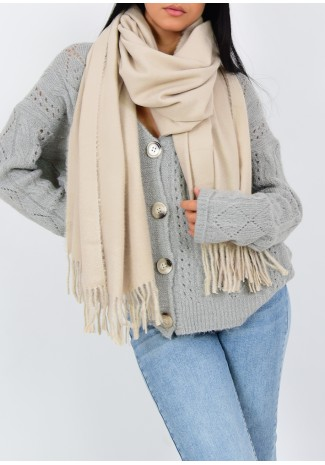 Scarf with tassels in beige