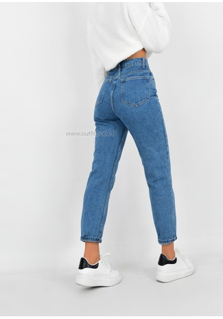 Jean mom fit bleu