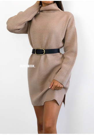 Robe pull avec col montant taupe