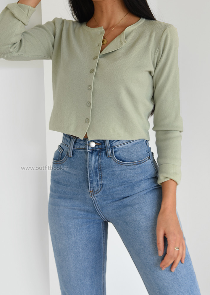 cropped cardigan in pastel green  outfitbook