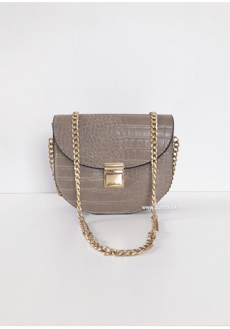 Beige croc cross body bag with chain