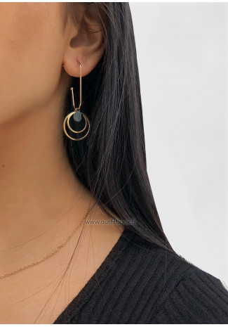 Double circle gold tone earrings