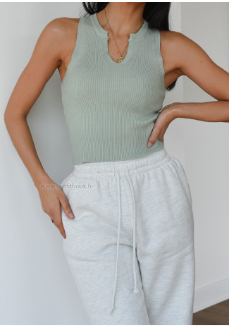 Top with notch detail in pastel green