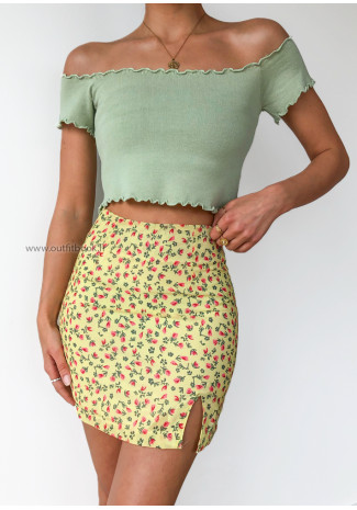 Yellow Floral Mini Skirt With Front Split