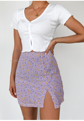 Lilac floral mini skirt with front split and buttons details
