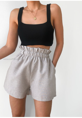 Shorts with paperbag waist in stone