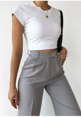 Cropped t-shirt in white