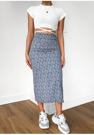 Floral print midi skirt in blue