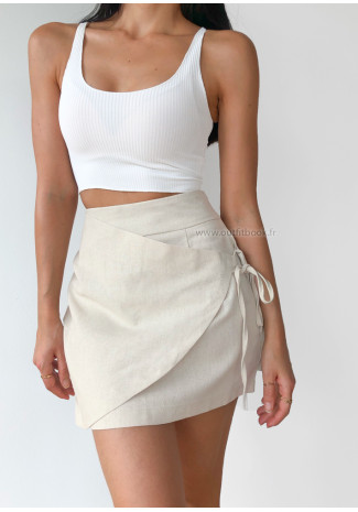 Mini skirt with wrap effect