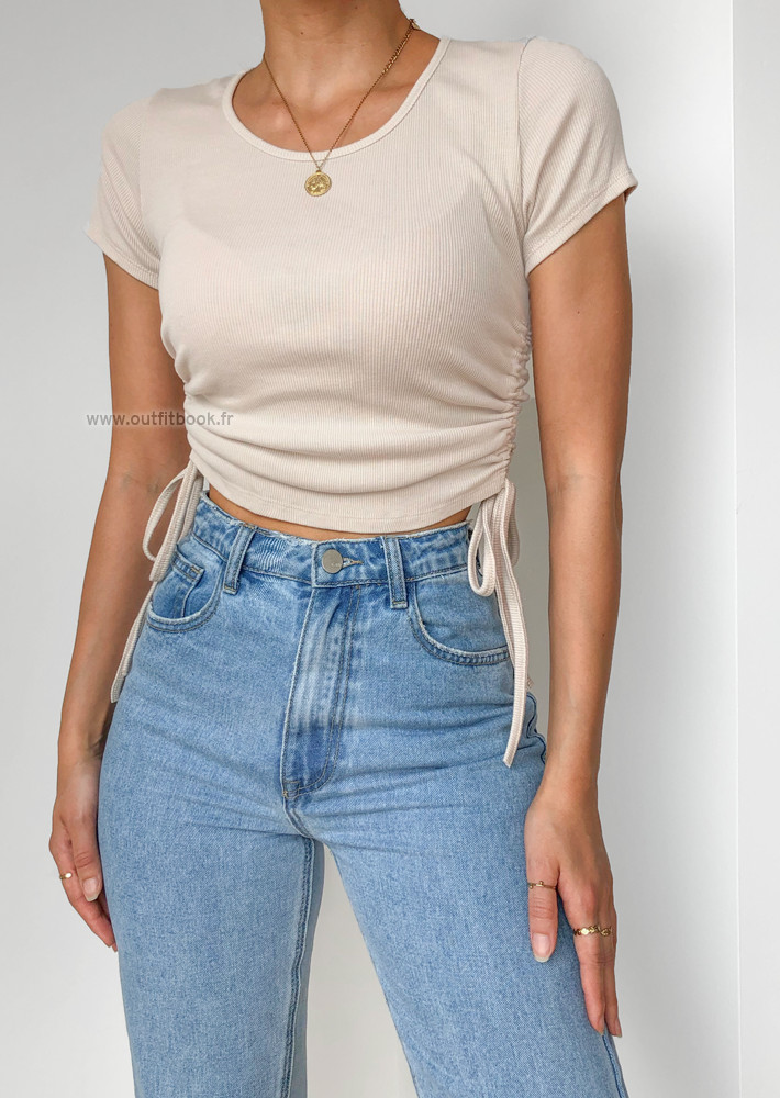Beige top with drawstrings